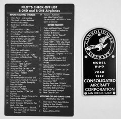 Consolidated B-24 Liberator Data Plate & Checklist Grouping GRP-0108