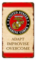 "USMC ""Adapt Improvise Overcome"" Metal Sign CAP-0106"