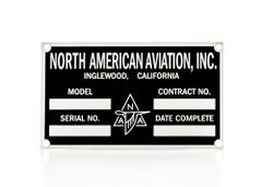 North American Aviation Data Plate DPL-0108