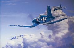 "Domenic DeNardo Print, F4U Corsair ""Salute to the Jolly Rogers"""