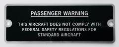 Amateur-Built Passenger Warning Experimental Aircraft Placard PLA-0110