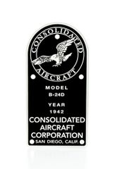 Consolidated B-24D Liberator Data Plate (Placard) DPL-0107