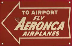 """Aeronca """"To Airport"""" Porcelain Metal Sign SIG-0194"""