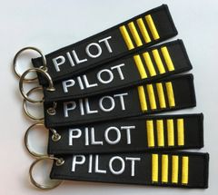 "5 Pieces Fob/Luggage Tag- ""Pilot"" with Gold Hash Bars KEY-0202-5"