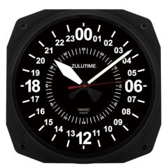 "24 hr. ""Zulutime"" 10"" Instrument-Style Wall Clock by Trintec TRI-0101"
