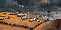 "Ross Buckland Print, P-38 Lightning, ""Front Row Seats"""
