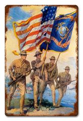 USMC Flags Metal Sign CAP-0107