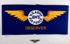 Genuine WWII Home Front Civilian Observer Arm Band & Wings VIN-0102