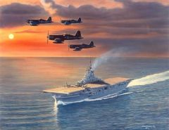 Sam Lyons Print, B-24 liberator Evening Return LS-2006