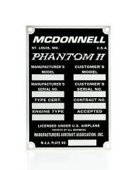 McDonnell F4 Phantom II Data Plate DPL-0106