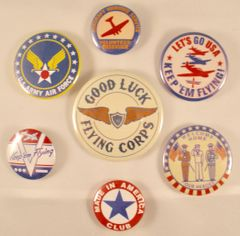 Grouping of Seven Home Front WWII Pin Back Buttons GRP-0108