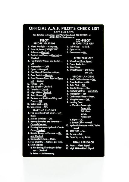 Boeing B-17 Flying Fortress Checklist on Aluminum Stock ...