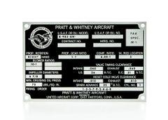 Pratt & Whitney R-985-AN Wasp Junior Radial Engine Data Plate DPL-0111