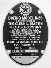 Repro Glenn Martin Built B-29 Data Plate Stamped for the Enola Gay DPL-0114
