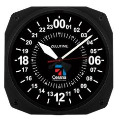 """Cessna 24-Hour Instrument Style Clock, 10"""" ORB-0125A"""