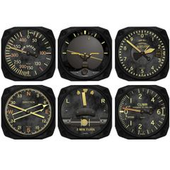 Trintec 6-Piece Vintage Aircraft Instrument Inspired Coaster Set TRI-9045