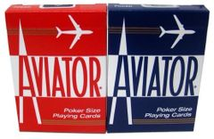 Aviator Red/Blue Brick of 12 Decks Playing Cards, Poker Size, New PC-1000906-BK
