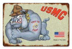 USMC Bulldog Metal Sign CAP-0102