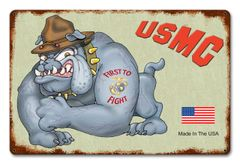 USMC Bulldog Metal Sign
