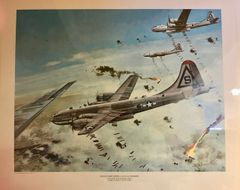 Lithograph of Boeing B-29 Superfortresses on Bomb Run Over Osaka LGS-0202