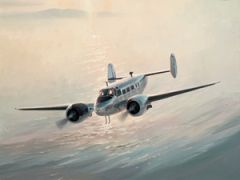 Keith Ferris Print, Beechcraft Model 18 (Twin Beech)