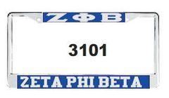 Greek Letter and Zeta Phi Beta License Frame