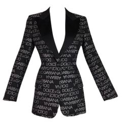 2839a0941c S S 1995 Dolce   Gabbana Black   White Monogram Logo Smoking Tux Jacket