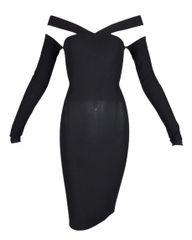 72682f44bd S S 1991 Dolce   Gabbana Runway Black Sheer Off Shoulder Wiggle Mini Dress