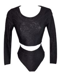 d9af3bbd91 NWT 1990 s Dolce   Gabbana Black Floral Crop Top   Panties Ensemble ...