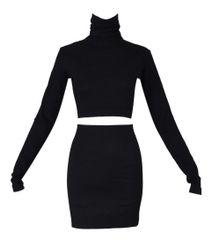 f6bc48fe60 1992 Dolce   Gabbana Black L S Crop Top   High Waist Mini Skirt Ensemble