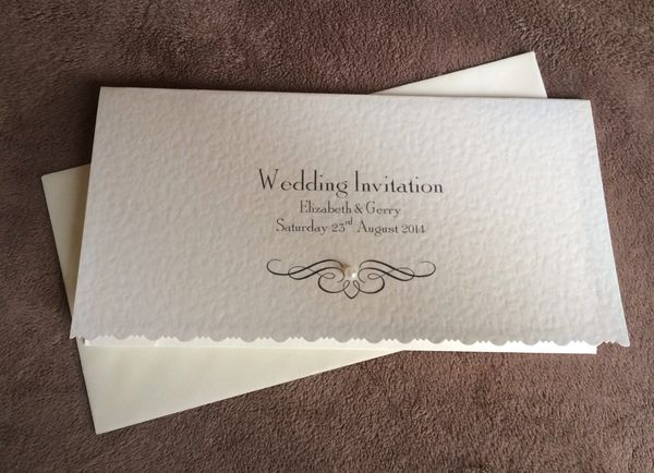 Pearl Personalised Pocketfold Wedding Invitation Contemporary Card