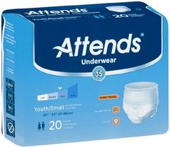 Youth Absorbent Underwear Attends Pull On Small Disposable Heavy Absorbency 80/cs