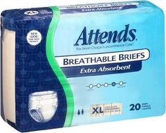 Attends Breathable Briefs EXTRA ABSORBENT/SEVERE (Diapers) XLARGE 60ct.