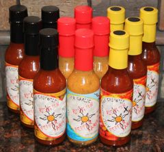 "Mixed Case Of YUM YUM !! (12 - 5oz bottles) 4 each of Three Pepper Garlic and Apple Cinnamon Chipotle (Med & X-Hot) ""Free Shipping"""