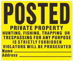NO TRESPASSING SIGN- YELLOW BACKGROUND (ALUMINUM SIGNS 10X12)
