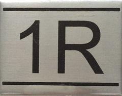 APARTMENT NUMBER SIGN – 1R- BRUSHED ALUMINUM