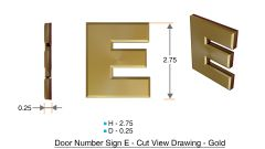 z- APARTMENT, DOOR AND MAILBOX LETTER E SIGN - LETTER SIGN E- GOLD (HIGH QUALITY PLASTIC DOOR SIGNS 0.25 THICK)