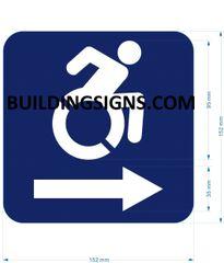 ACCESSIBLE RIGHT SIGN- BLUE BACKGROUND (ALUMINUM SIGNS 6X6)- The Pour Tous Blue LINE