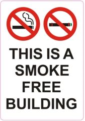 4 pcs - THIS IS A SMOKE FREE BUILDING SIGN (STICKER 5X3.5)