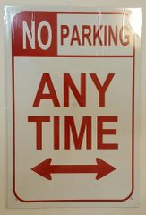NO PARKING SIGN–WHITE ALUMINUM (18X12)