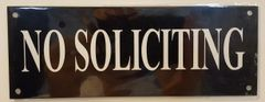 NO SOLICITING SIGN - BLACK BACKGROUND (ALUMINUM SIGNS 3X8)