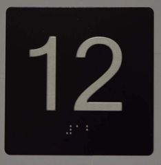 ELEVATOR JAMB- 12 - BLACK (ALUMINUM SIGNS 4X4)