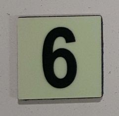 Glow in dark Number 6 sign The Liberty Line (Aluminum SIGNS 1x1, 3 RCNY §505-01)