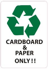 CARDBOARD AND PAPER ONLY SIGN (STICKER 7X5)
