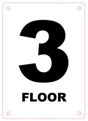 FLOOR NUMBER THREE (3) SIGN - ALUMINIUM