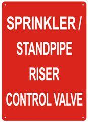SPRINKLER STANDPIPE RISER CONTROL VALVE SIGN (ALUMINUM SIGNS 14X10)