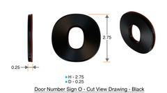 z- APARTMENT, DOOR AND MAILBOX LETTER O SIGN - LETTER SIGN O- BLACK (HIGH QUALITY PLASTIC DOOR SIGNS 0.25 THICK)
