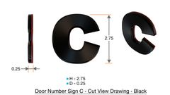 z- APARTMENT, DOOR AND MAILBOX LETTER C SIGN - LETTER SIGN C- BLACK (HIGH QUALITY PLASTIC DOOR SIGNS 0.25 THICK)