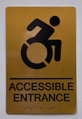 Accessible Entrance Directional Sign- GOLD