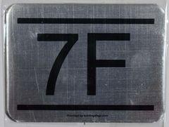 z- APARTMENT NUMBER SIGN – 7F -BRUSHED ALUMINUM (ALUMINUM SIGNS 2.25X3)